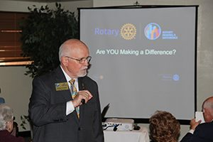 District Governor Joe Hentges addresses Catalina Rotary