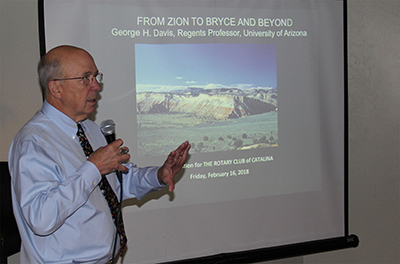 Dr. George Davis presents to Catalina Rotary