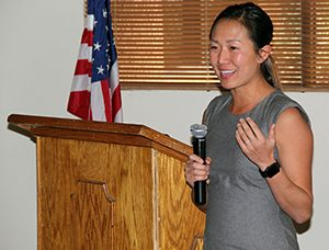 photo of Dr. Suezie Kim presenting to Catalina Rotary Club